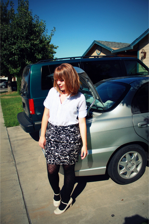 Forever 21 blouse - Forever 21 skirt - Wal Mart tights - TJ Maxx shoes