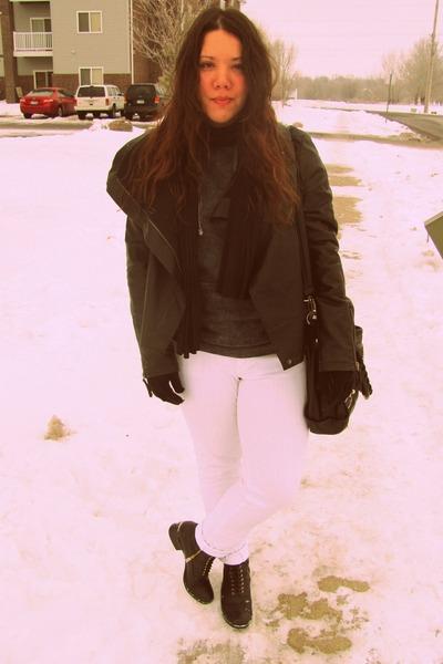 black Target boots - white Forever 21 jeans - black Target jacket - Forever21 sw