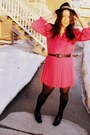Black-goodwill-boots-hot-pink-goodwill-dress-black-hat