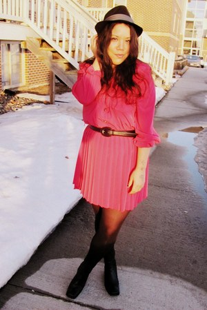 black Goodwill boots - hot pink Goodwill dress - black hat