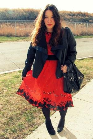 red Goodwill dress - black Target jacket