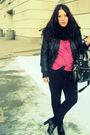 Black-jacket-black-jeans-black-forever21-boots-pink-vintage-top-black-pu