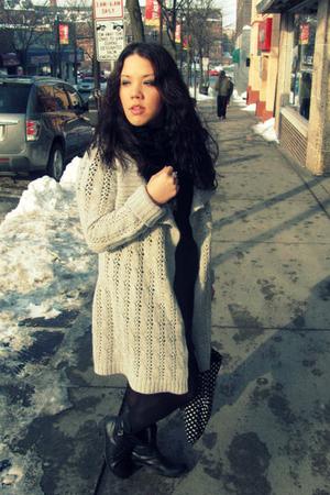 silver sweater - black Forever 21 dress - black Target tights - black Forever21