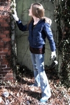 blue American Eagle jacket - brown Ross shirt - blue YMI jeans - blue American E