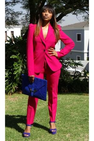 pink pant suit suit - bag - heels
