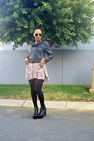 leather jacket jacket - boots - floral dress dress - tights
