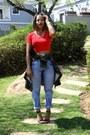 Crop-top-top-levis-jeans-camo-shirt-shirt-heels