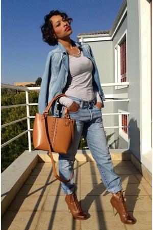 light blue Levis jeans - bronze Woolworths boots - light blue cotton on jacket