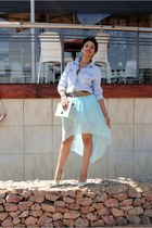 skirt - denim shirt shirt - heels