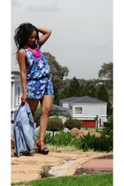 tie dye romper romper - denim jacket jacket - necklace - wedges