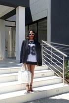 varsity top top - blazer - white handbag bag - heels - glasses