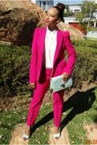 Zara suit - shirt - mint pastel bag bag - heels - belt