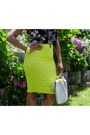 Skirt-floral-crop-top-top-yellow-cuff-bracelet