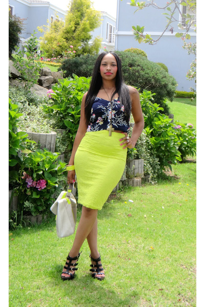 skirt - floral crop top top - yellow cuff bracelet