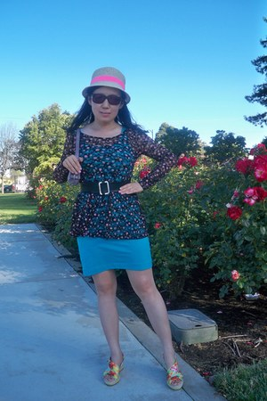 lace Wet Seal blouse - turquoise blue tank dress H & M dress