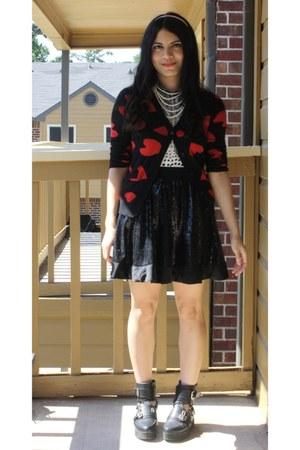 Forever 21 boots - Forever 21 skirt - Forever 21 cardigan