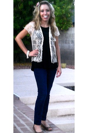 lace Vanity cardigan - jeggings Old Nave jeans - black tank Old Navy top