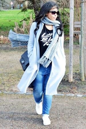 heather gray wool Sheinside coat - blue boyfriend fashion to figure jeans