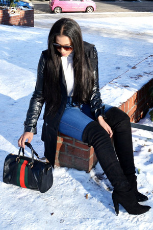 black trench coat Review coat - black About You boots