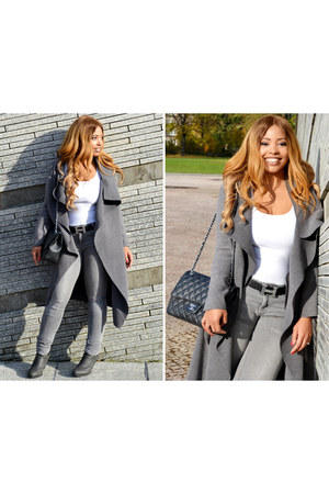 heather gray suede Office boots - heather gray flowy MinkPink coat