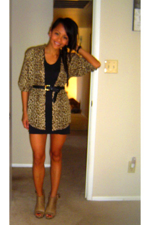 black light sweater Express dress - camel peep toe Forever 21 heels - cardigan