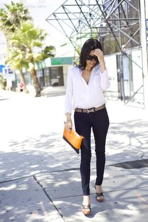Vince For Bergdorff Goodman blouse - rag & bone jeans - Yves Saint Laurent heels