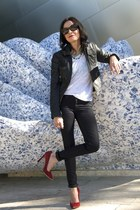 rag & bone jeans - Cacharel Leather jacket - Vintage tee top