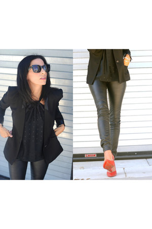 Helmut Lang blazer - Celine Sunnies sunglasses - Vegan Leather Skinny pants