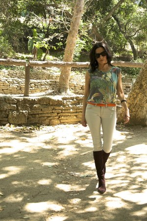 Manolo Blahnik boots - rag & bone jeans - Celine sunglasses - Handbag Strap belt