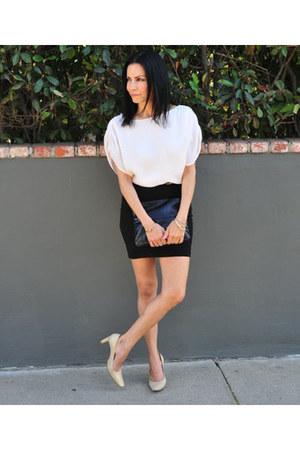 Alice  Olivia dress - Club Monaco Python Clutch bag - madewell heels