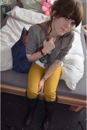 riding Esprit boots - skinny H&M jeans - H&M blazer - h&m mens shirt
