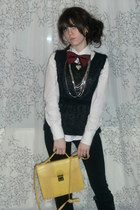 yellow fake leather Primark bag - black Madonna pants - black top - white blouse
