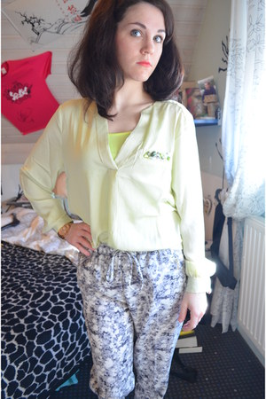 neon H&M top - H&M pants - green gems H&M blouse
