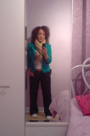 blazer - scarf - top - jeans
