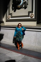 green H&M sweater - orange Old Navy boots - cotton on belt