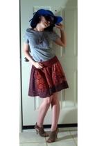 vintage  hat - Old Navy t-shirt - Target skirt - SkwrrL Collective necklace - Sk