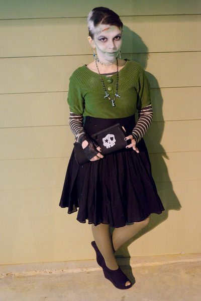 black DIY bag - chartreuse delias sweater - olive green Target tights
