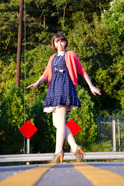 navy Target dress - beige Target tights - light orange kids Old Navy cardigan