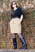 black Delias blouse - beige ann taylor skirt - black Betsey Johnson tights - bla