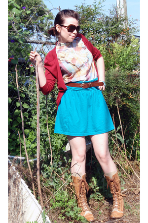 Destroy boots - Limited sweater - thrifted skirt - Delias blouse - vintage acces
