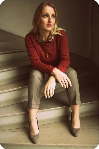 vintage shirt - Ebay shoes - H&M sweater - camaieu pants - Etsy necklace