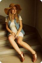 H&M hat - H&M dress - Zara heels - vintage vest