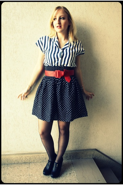 vintage striped shirt - h&m polka dot skirt - new look wedges
