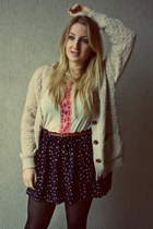 navy Mango skirt - ivory Newlook cardigan - ivory Kookai top