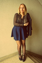 vintage blazer - H&M shirt - Newlook wedges - Boohoo skirt