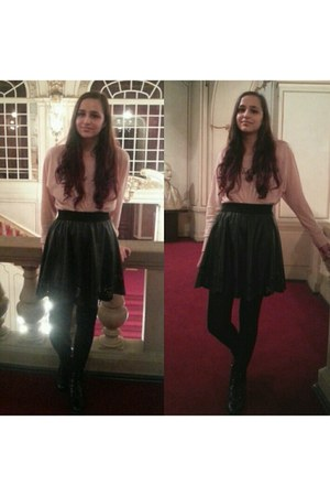 light pink Only blouse - black fake leather H&M boots - black fake leather skirt