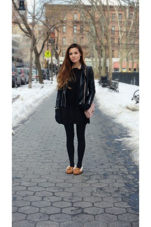 brown furry Perry Top Sider loafers - black faux leather Sheinside jacket