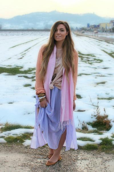 periwinkle long romwe skirt - neutral silk romwe dress