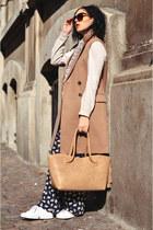 camel new look coat - eggshell vintage scarf - camel handmade bag