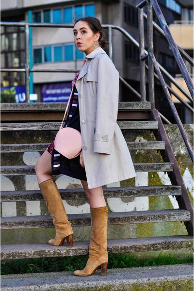 vintage boots - vintage dress - vintage coat - vintage bag - vintage cardigan